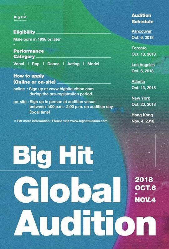 "BigHit、""第2の防弾少年団""発掘へ! 世界6都市でグローバルオーディション開催!"